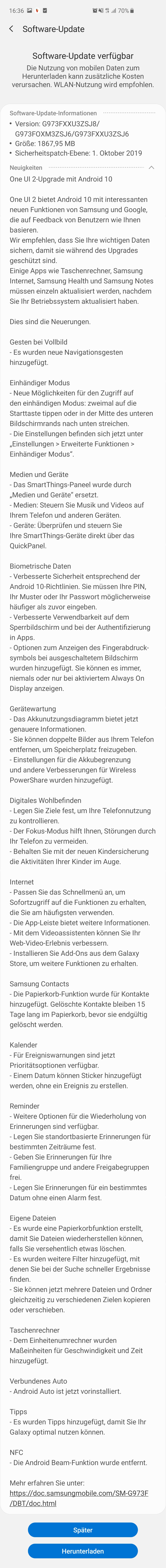Android 10 Beta Changelog Samsung Galaxy S10