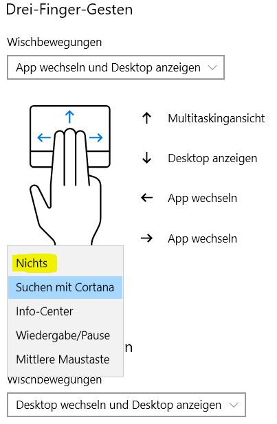 Touchpad Gesten Windows deaktivieren