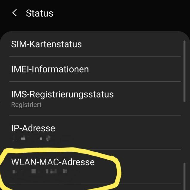Samsung Galaxy S10 MAC Adresse herausfinden – Lösung