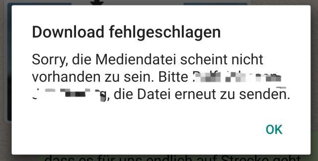 whatsapp download fehlgeschlagen