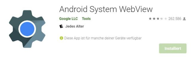Android Webview im Google Play Store