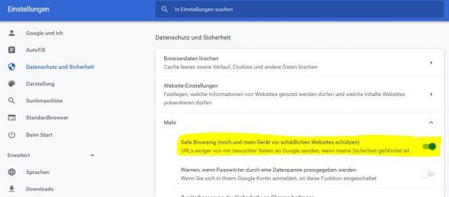 Google Chrome Safe Browsing deaktivieren