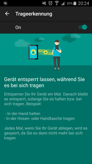 Android Lollipop Trageerkennung