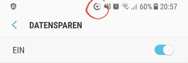 Samsung Galaxy S9 Datensparen Symbol Plus mit kreis