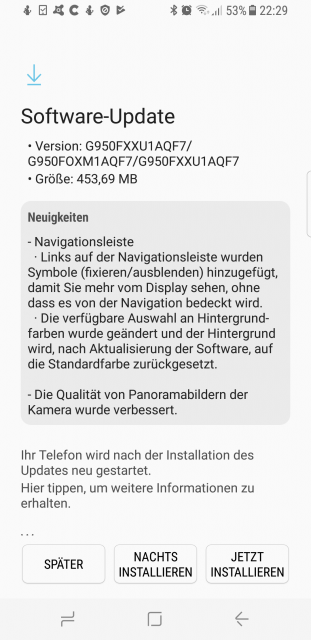 Firmware Update Samsung Galaxy S8 - Changelog