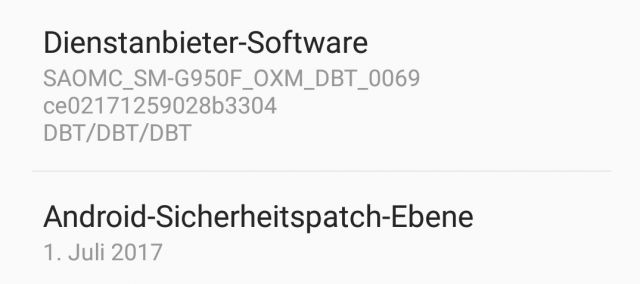 Software-Info Dienstanbieter Galaxy S8