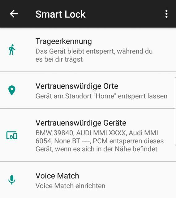 Samsung Galaxy S9 Smart Lock Optionen