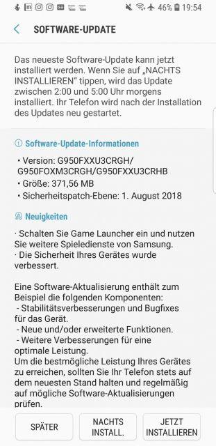 Samsung Galaxy S8 Firmware Update September
