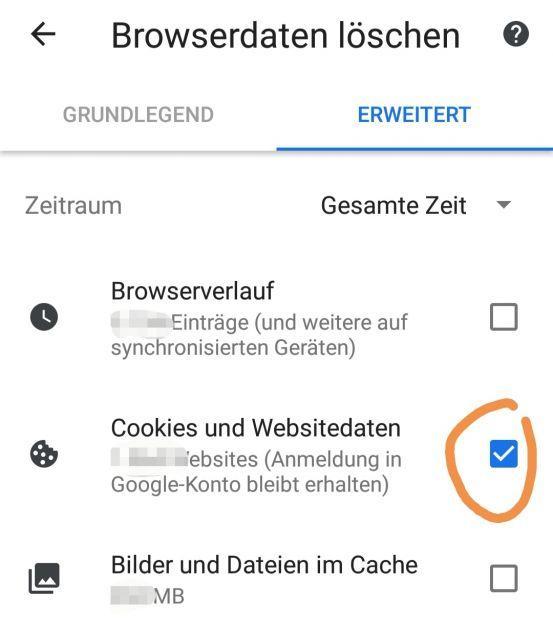 Samsung Galaxy S9 Cookies entfernen - Anleitung