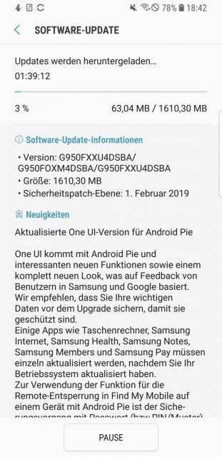 Android 9.0 Pie Download - Samsung Galaxy S8