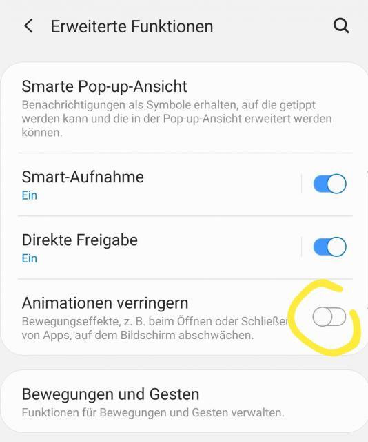 Animationen verringern - Samsung Galaxy S10