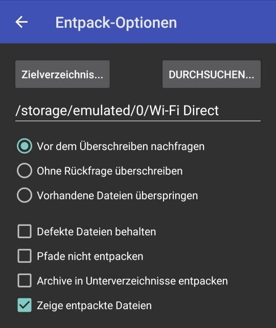 Zip datei entpacken android