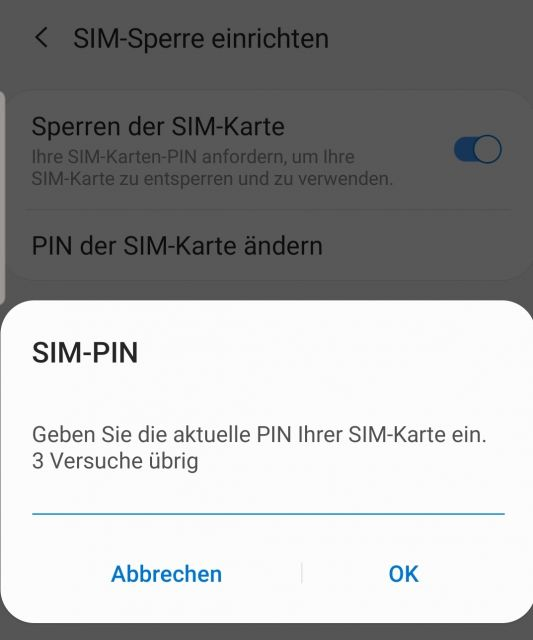 Sim Pin ändern Samsung Galaxy Note 10