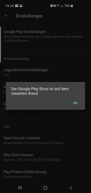 Google Play Store aktuelle Version