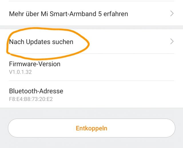 Mi Band 5 Firmware Update installieren
