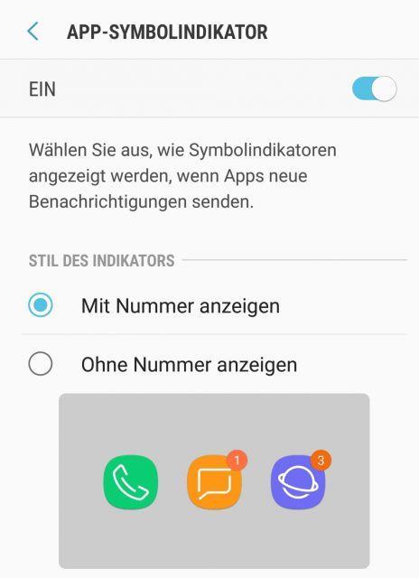 Samsung Galaxy S8 App Symbol Indikator Mit Nummer Anzeigen