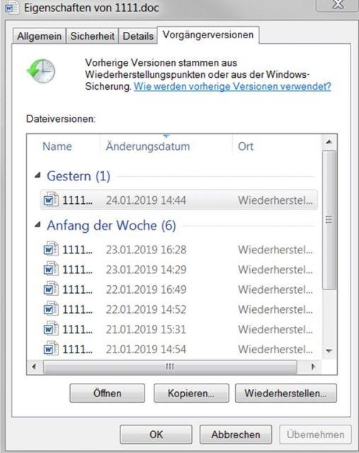 Vorgeängerversion wiederherstellen - Windows