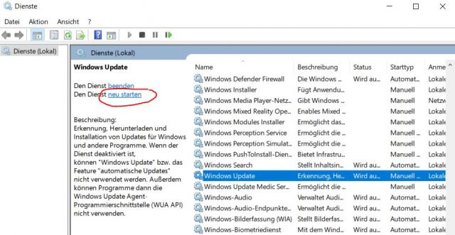 Windows Update Dienst neu starten